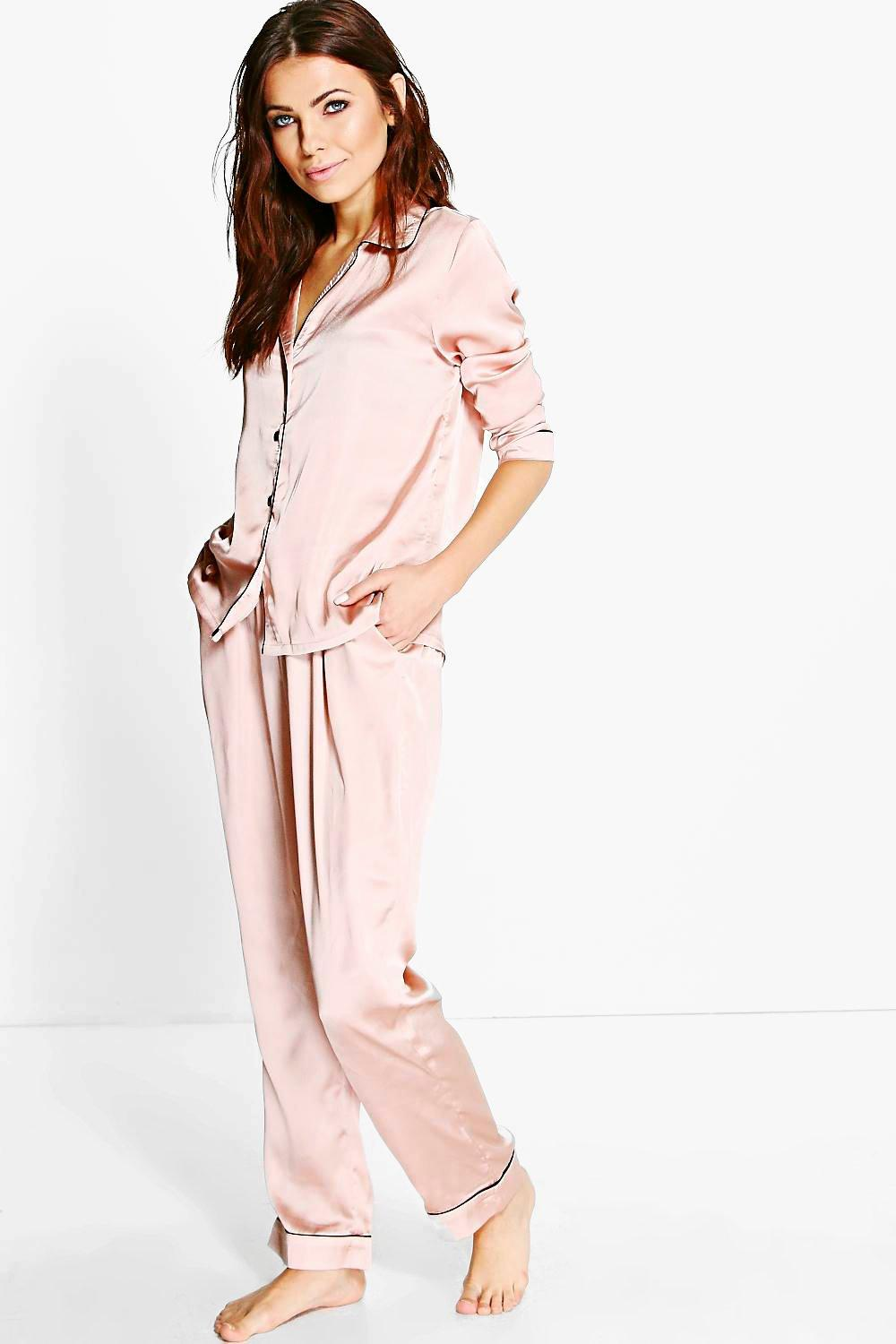 Esme Contrast Piping Button Down Satin Set