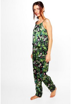 Emma Satin Jungle Print Vest And Trouser PJ Set