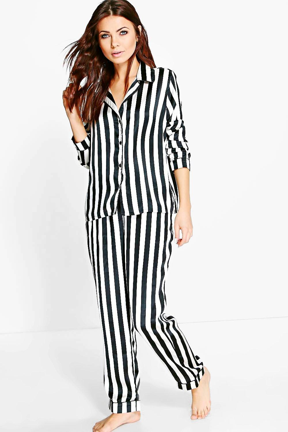Katie Satin Thick Stripe Button Through PJ Set