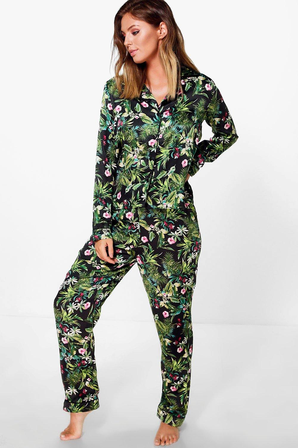 Hannah Satin Button Through Jungle Print PJ Set