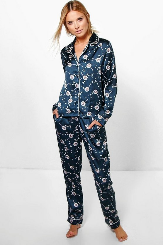 Charlotte Satin Button Dandelion Print PJ Set