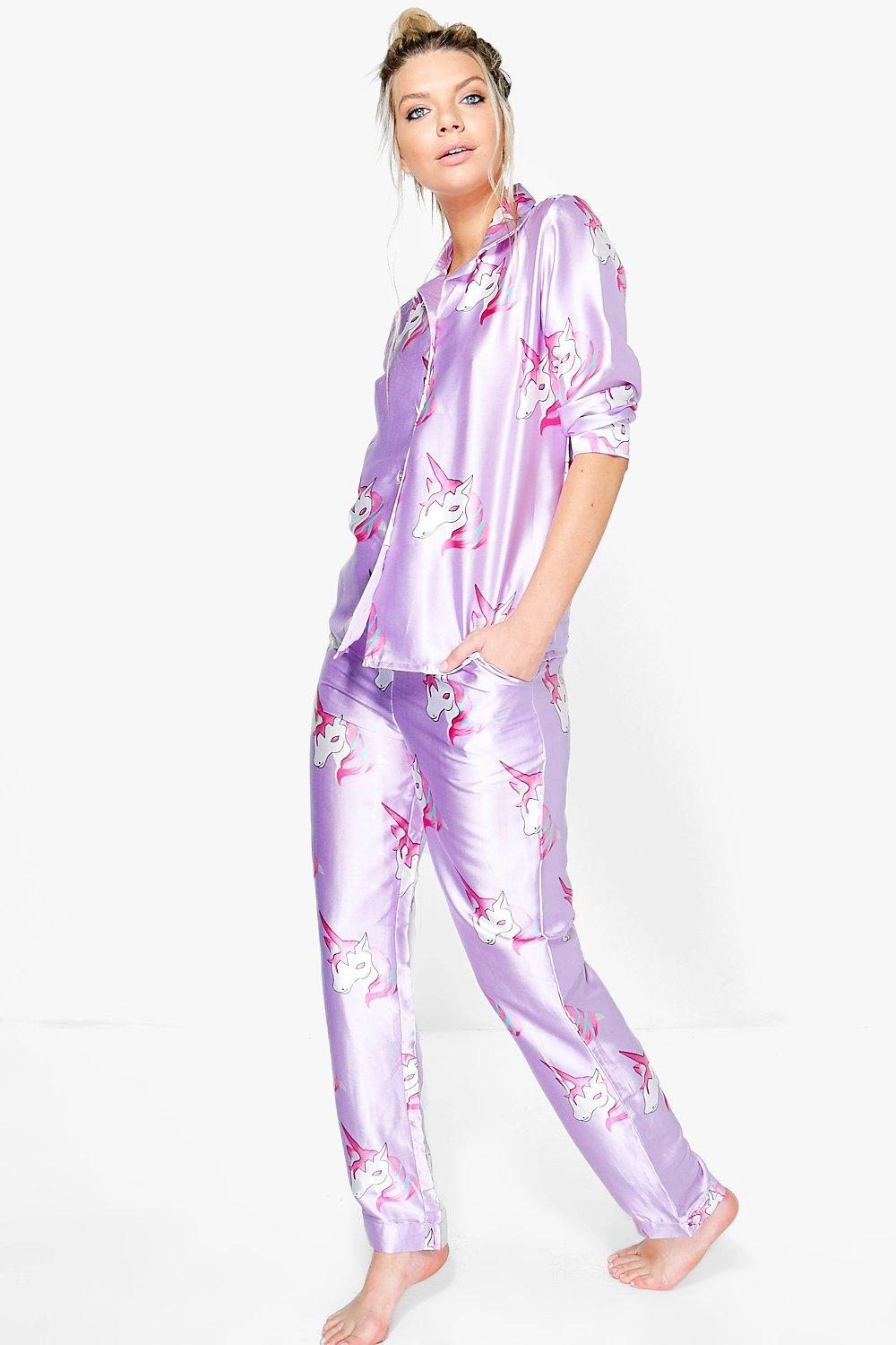 Evie Satin Unicorn Print Button Down Trouser Set