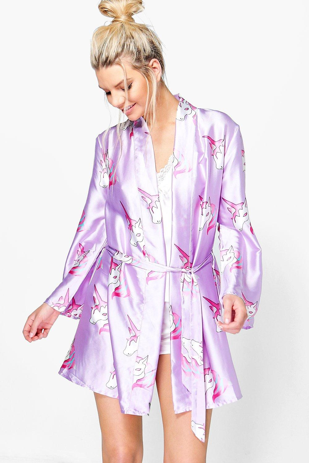 Millie Satin Unicorn Print PJ Robe