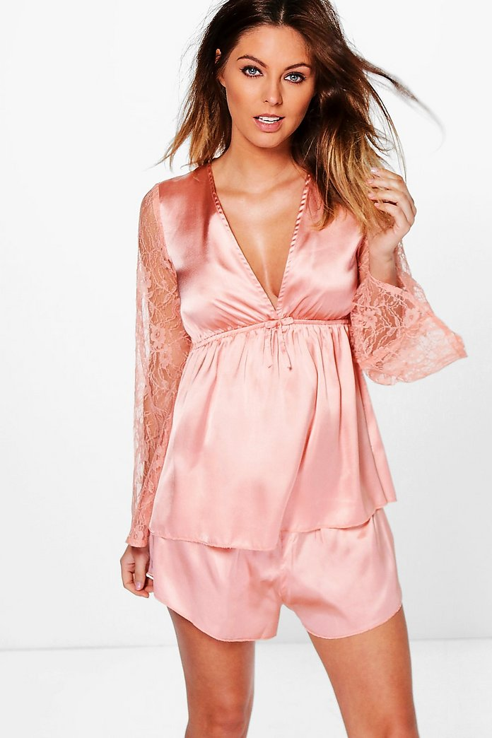 Ellie Satin Bell Sleeve Cami And Short PJ Set