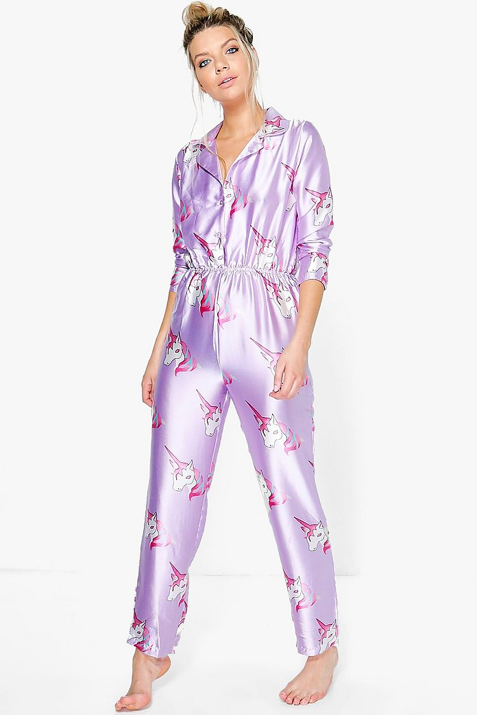 Megan Satin Unicorn Print Button Through Jumpsuit