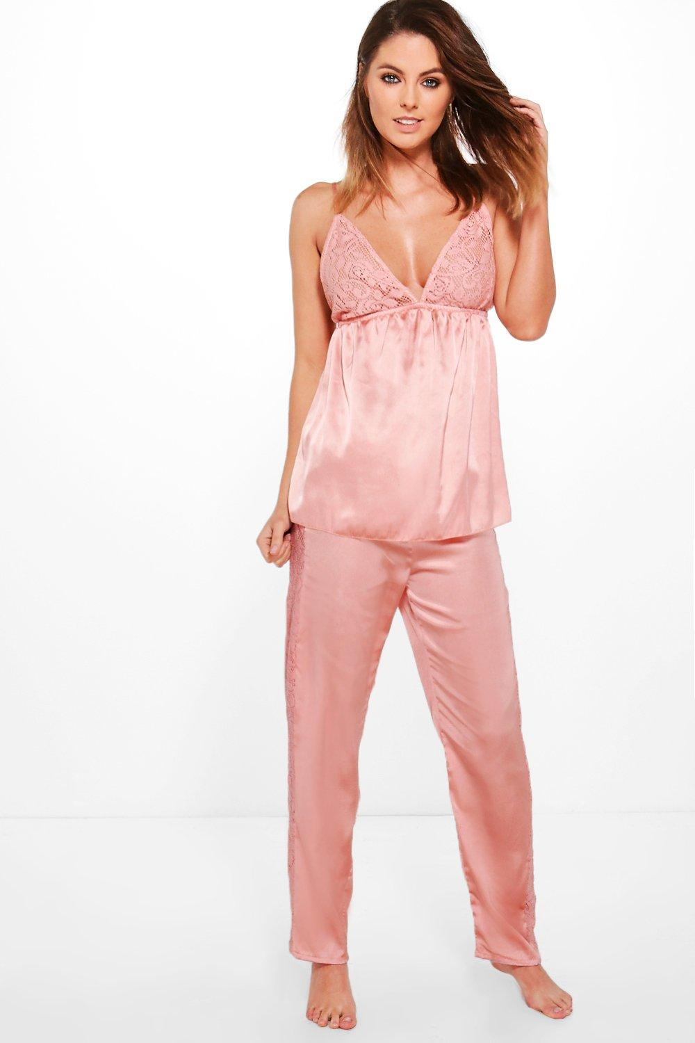 Grace Satin Cami And Lace Insert PJ Trouser Set