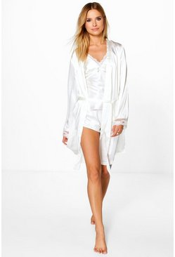 Eliza Cream Bridal Lace Sleeve Satin Kimono Robe