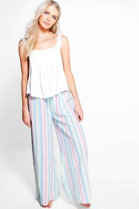 Amy Ruffle Vest + Stripe Wide Leg Trouser Night Set