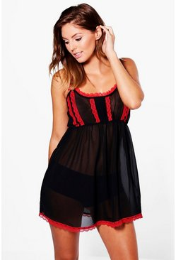 Erin Lace Contrast Chifron Babydoll Night Dress