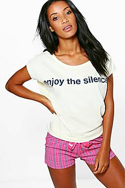 Lillie Enjoy The Silence Slogan Tee And Short PJ Set