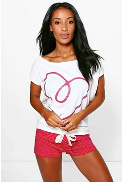 Tilly Love Heart Polka Dot Short PJ Set