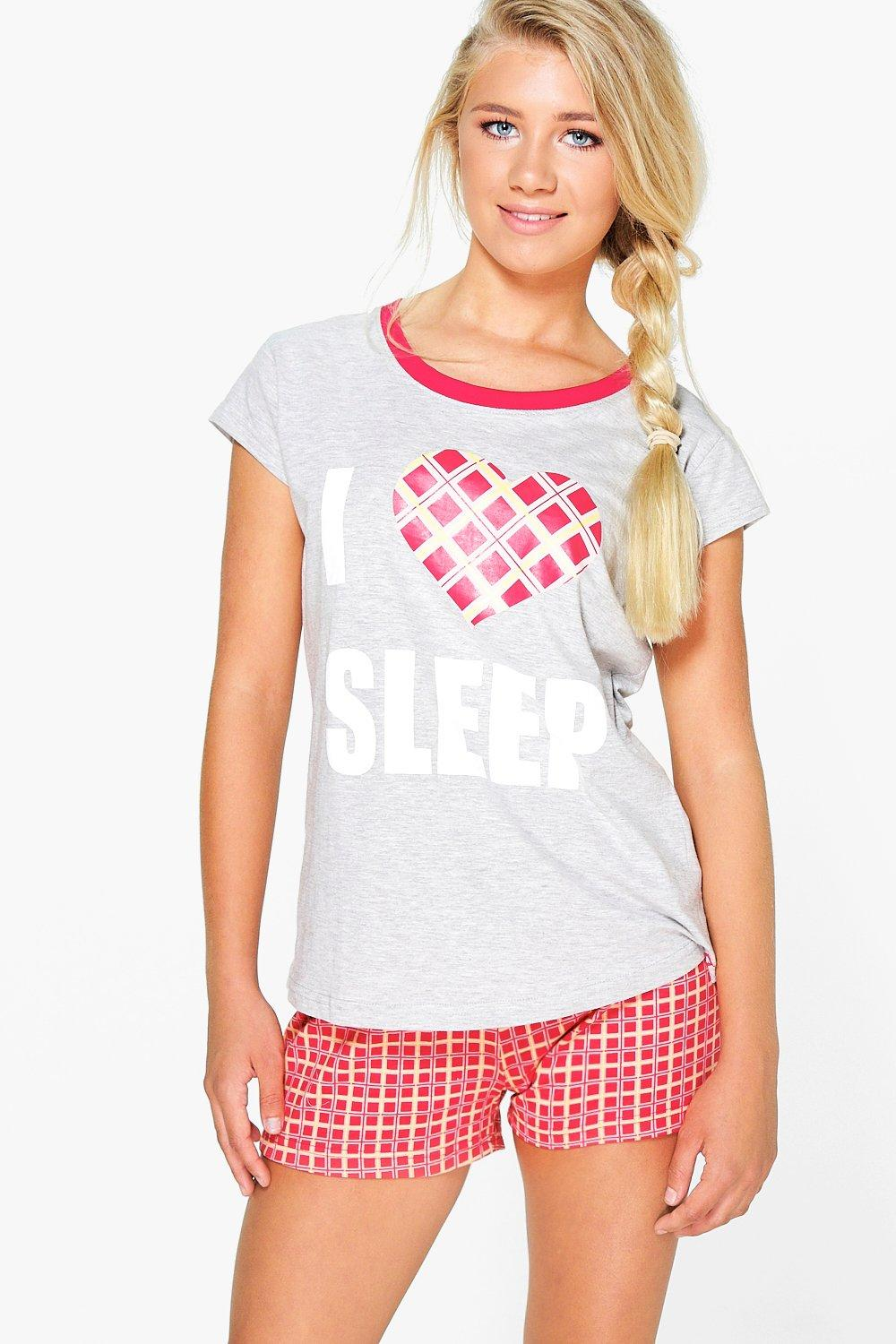 Libby I Love Sleep Tee And Shorts PJ Set