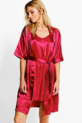 Isabelle Satin Slip And Kimono 2 Piece Set
