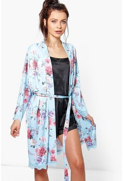 Sophia Floral Lace Trim Bridal Robe