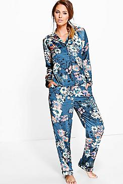 Rosie Satin Floral Print Button Through PJ Set