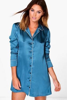 Faith Satin Contrast Piping Night Shirt