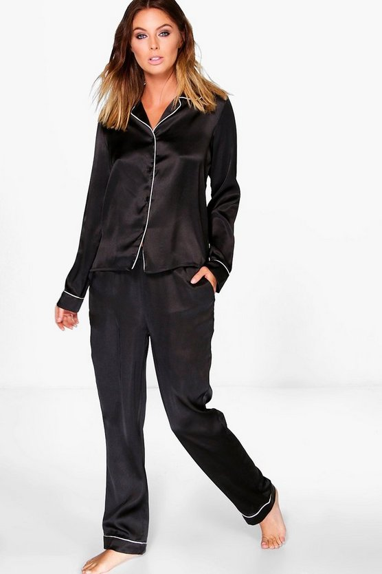 Brooke Satin Long Sleeve Button Through PJ Set