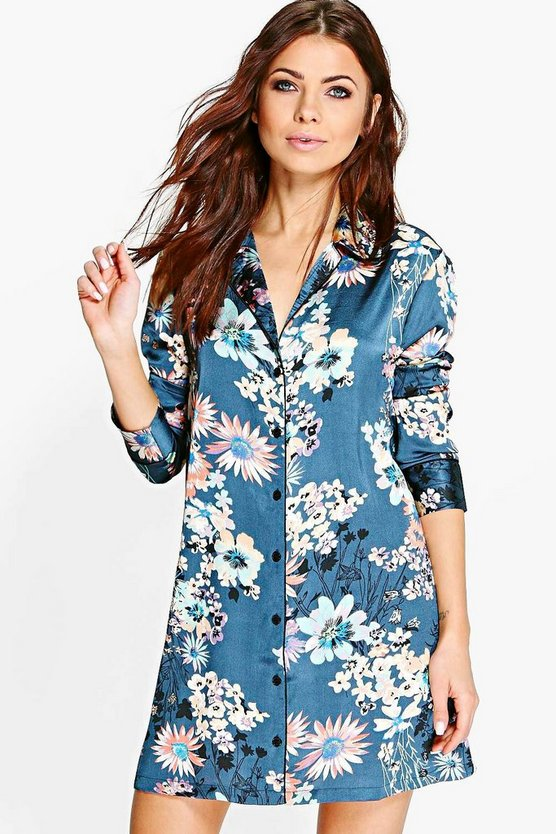 Ella Satin Floral Print Contrast Piping Night Shirt