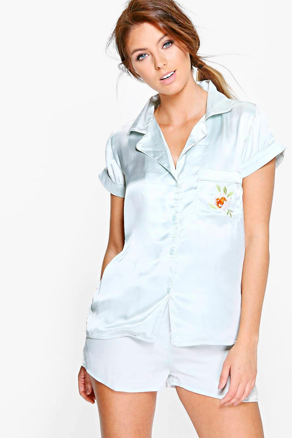 Ellie Boutique Embroidered Satin Shirt + Shorts Set