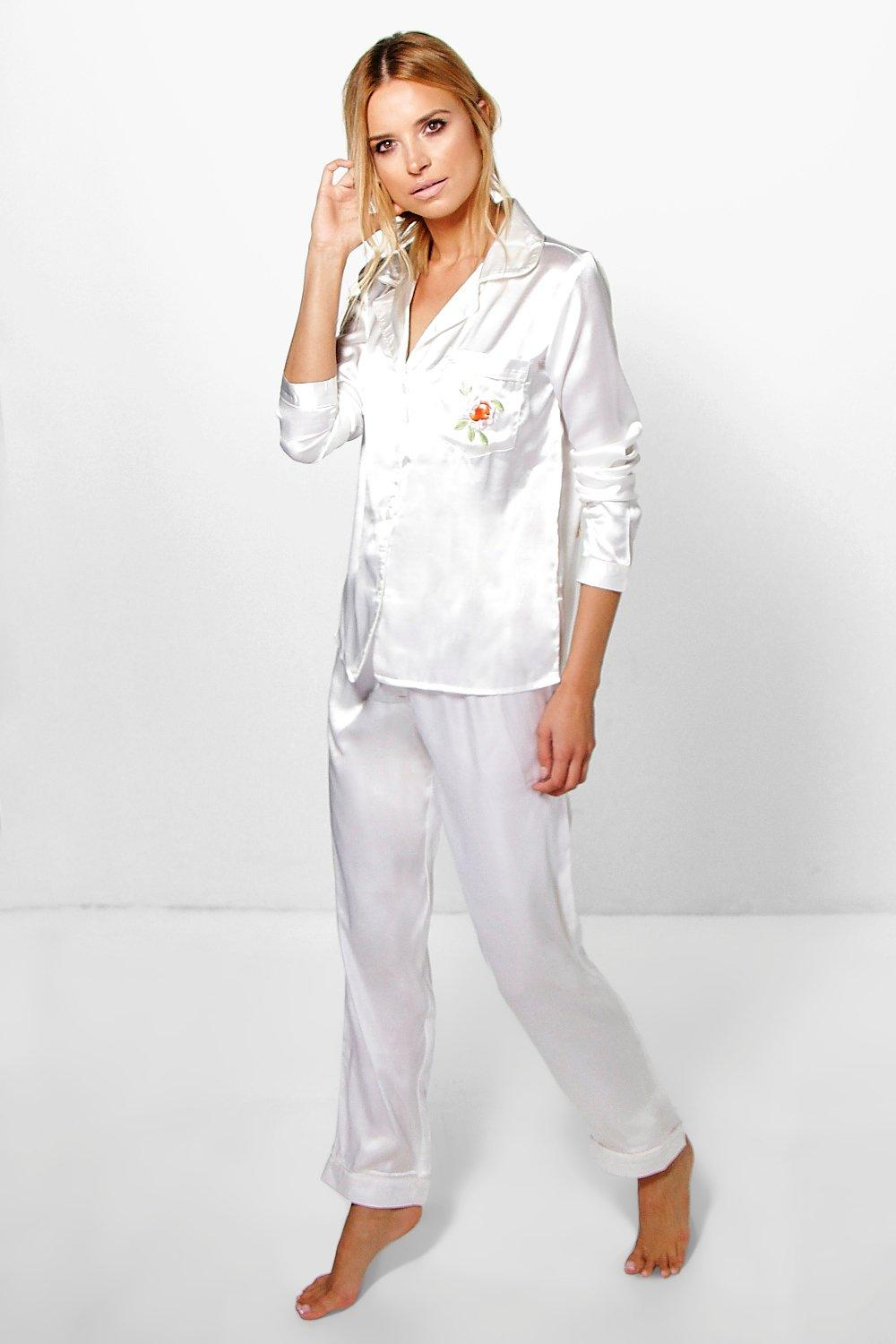 Eve Boutique Embroidered Satin Shirt And Trouser Set