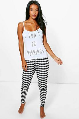 Lillie Don't Do Slogan Vest And Trouser Lounge Set
