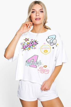Evie Patch Print Tee And Short PJ Set