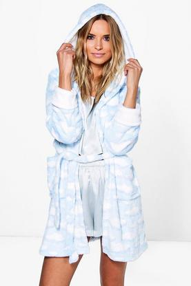 Alisha Cloud Print Hooded Dressing Gown