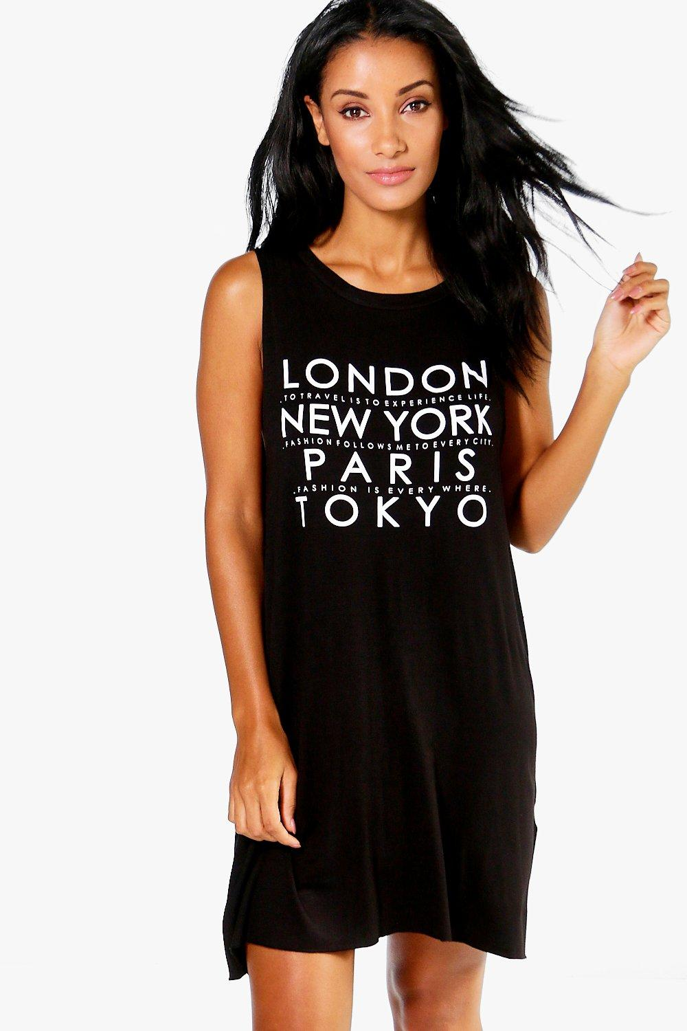 Alicia City Slogan Vest Night Dress