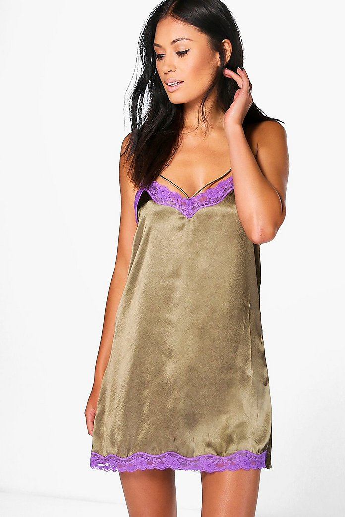 Amy Satin Contrast Lace Strappy Babydoll