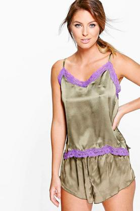 Erin Satin Cami And Short With Contrast Lace PJ Set