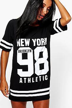 Alice Gestreiftes Nachthemd mit New-York-Print - Boohoo.com