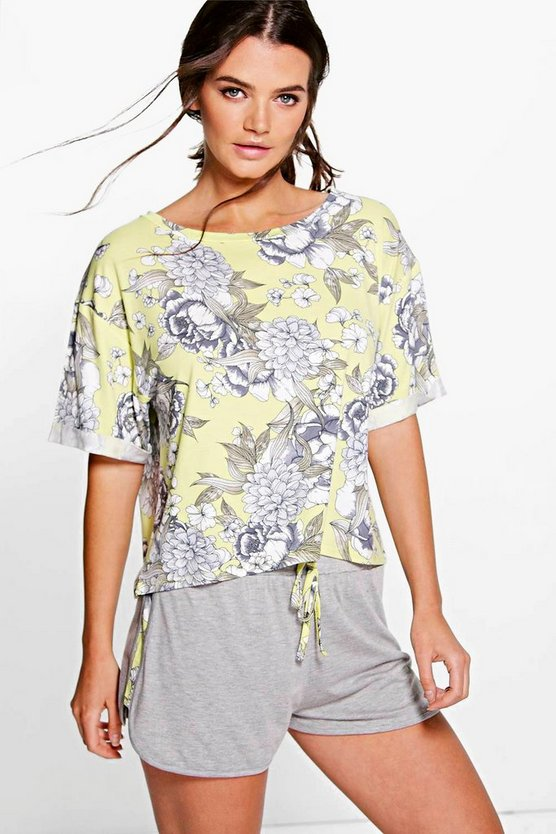 Heidi Crop Boxy Tee And Runner Short PJ Set