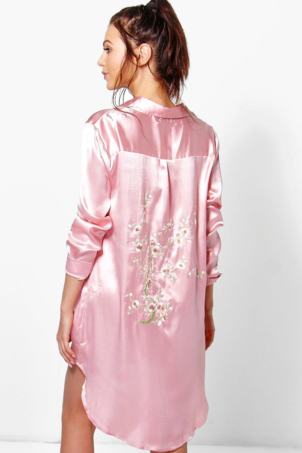 Kayla Satin Embroidered Cherry Blossom Night Dress