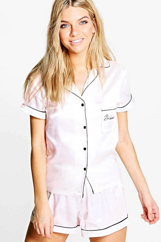 Bridesmaid Embroidered Satin Tshirt + Short Set