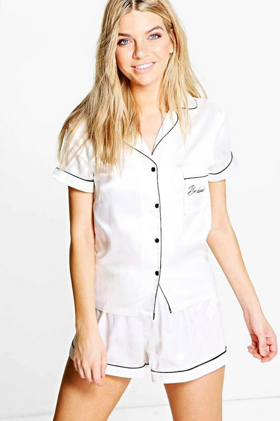 Eve Bridesmaid Embroidered Satin Tshirt + Short Set
