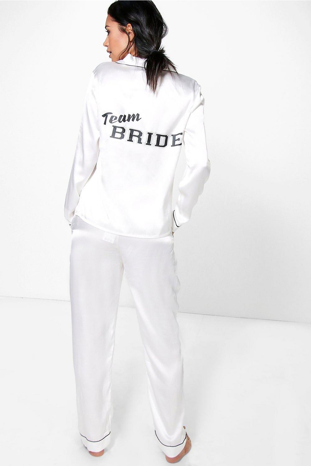 Phoebe Team Bride Satin Night shirt + Trouser Set