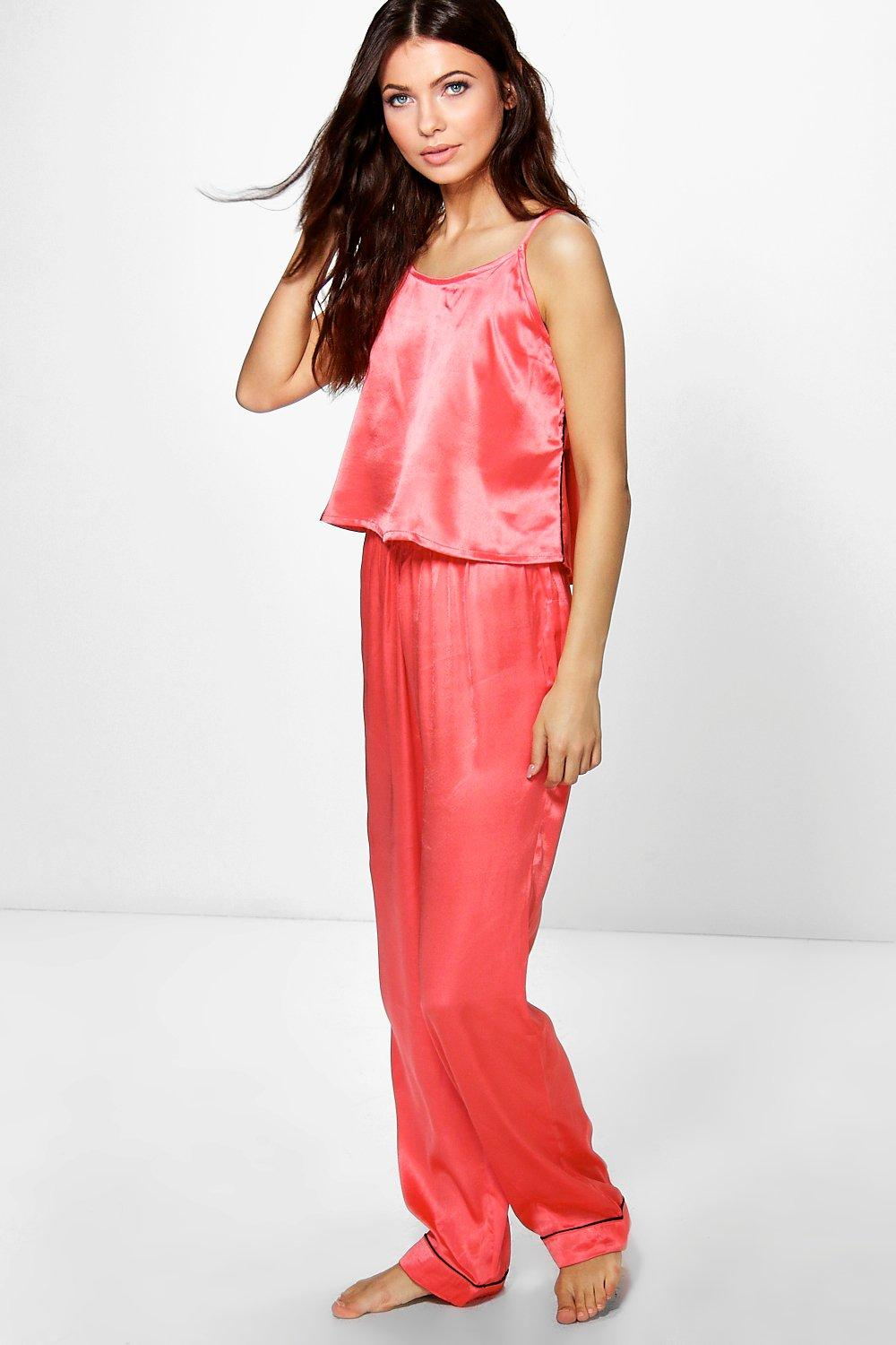 Amy Satin Vest And Contrast Piping Trouser Night Set