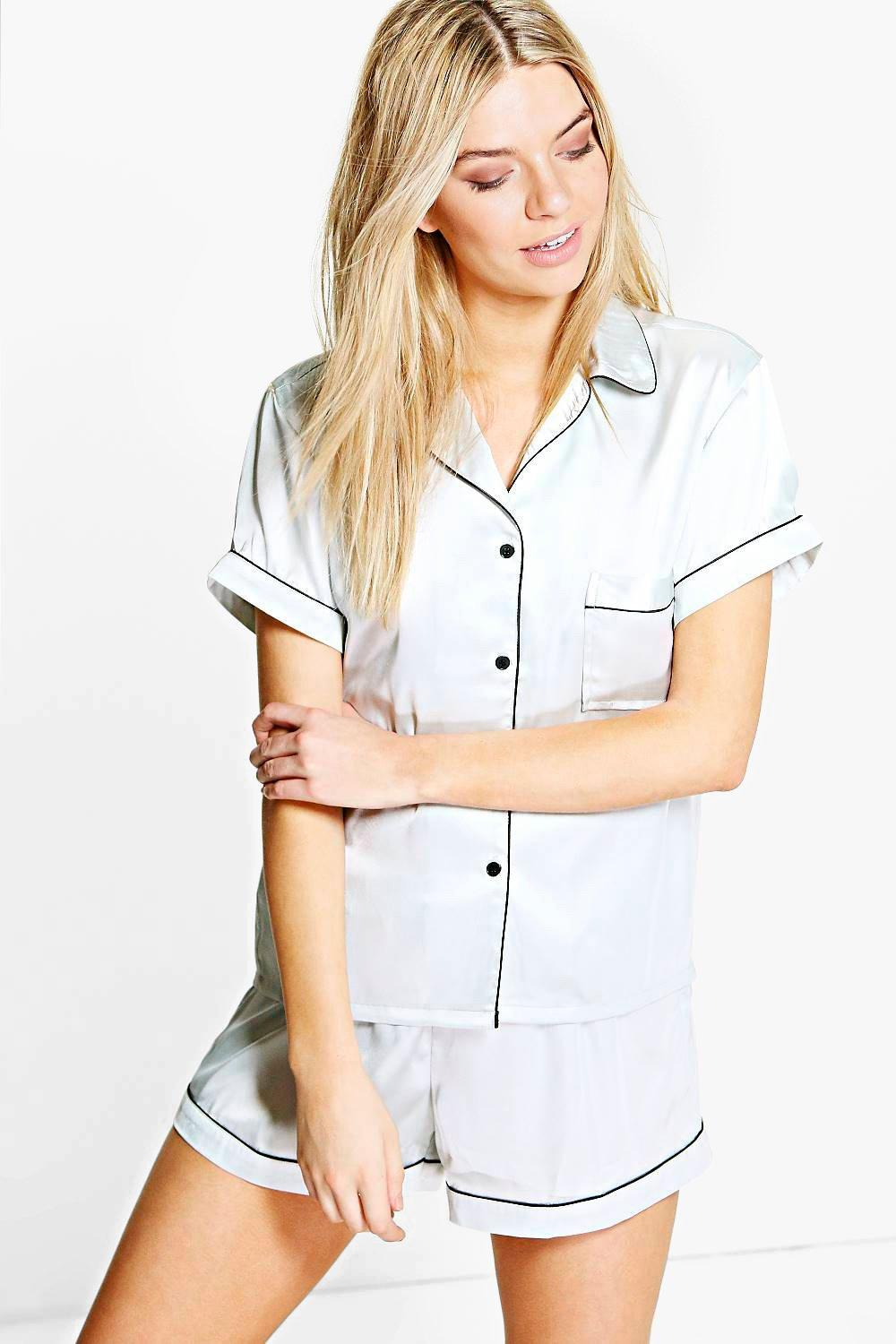 Mya Contrast Piping Satin Button Tshirt + Short Set