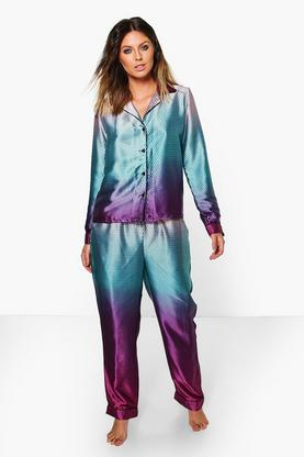 Tia Mermaid Print Satin Night Shirt + Trouser Set