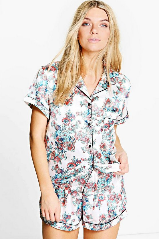 Erin Pretty Floral Satin Shirt + Short Set