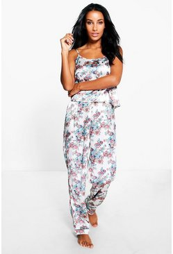 Daisy Pretty Floral Satin Vest + Trouser Set