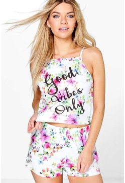 Daisy Good Vibes Halter Vest And Short PJ Set
