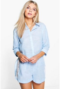 Amy Chambray Lace Side Panel Short PJ Set