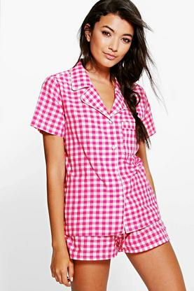 Katie Gingham Button Through PJ Short Set