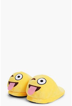 Tongue Winky Emoji Soft Slippers