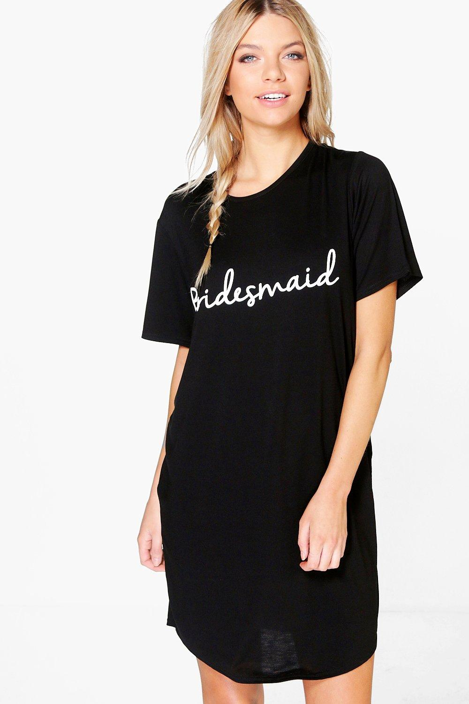 Womens Nachthemd mit Bridesmaid-Slogan - Schwarz - S, Schwarz - Boohoo.com