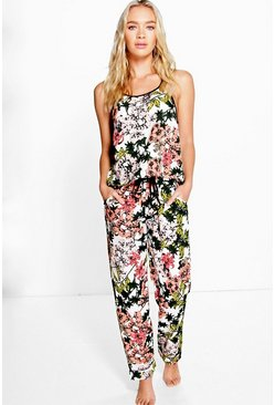 Kayla Floral Crepe Vest And Trouser Set