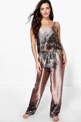 Eloise Satin Crop And Paisley Trouser Set