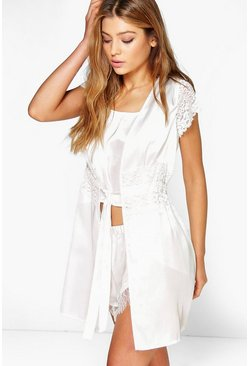 Nadia Satin And Lace Cap Sleeve Cover Up