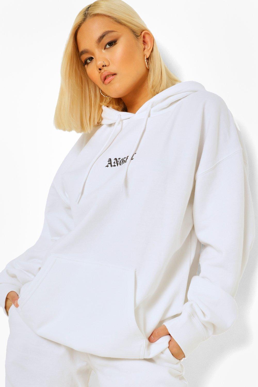 boohoo Petite Oversized 'Angel' Hoodie Met Capuchon En Tekst, White